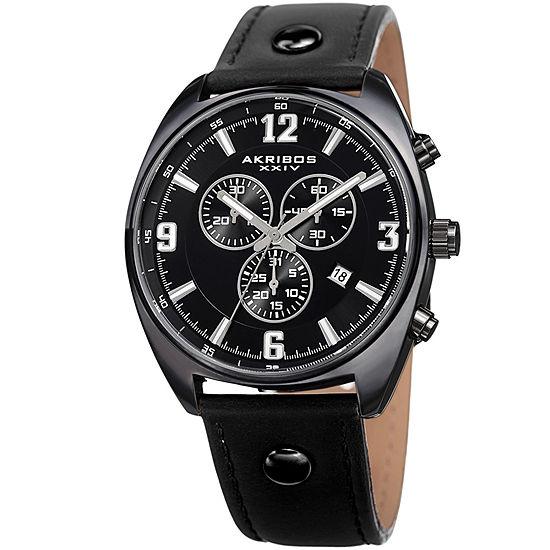 Akribos XXIV Mens Black Strap Watch-A-969bk