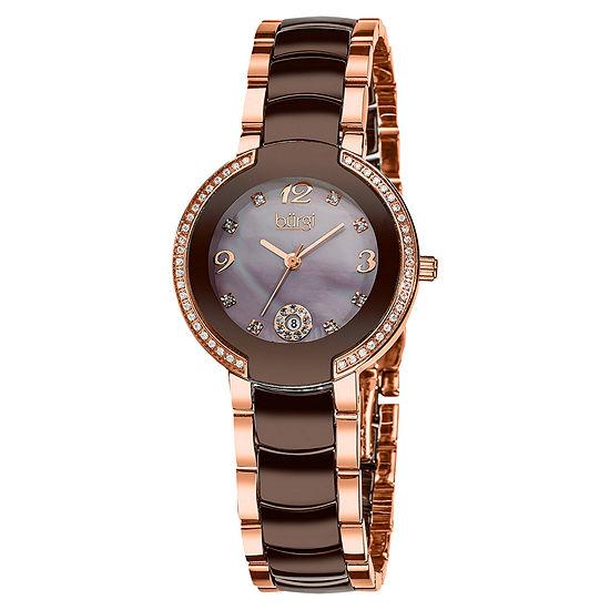 Burgi Womens Two Tone Stainless Steel Strap Watch-B-072rgbr
