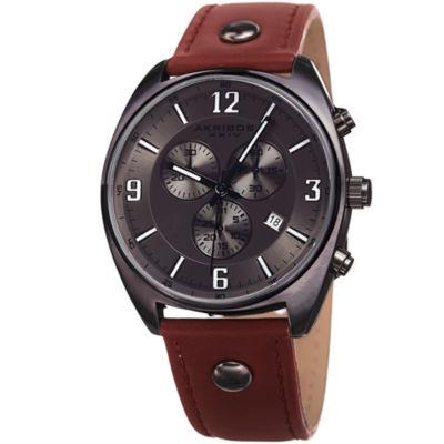 Akribos XXIV Mens Brown Strap Watch-A-969gn