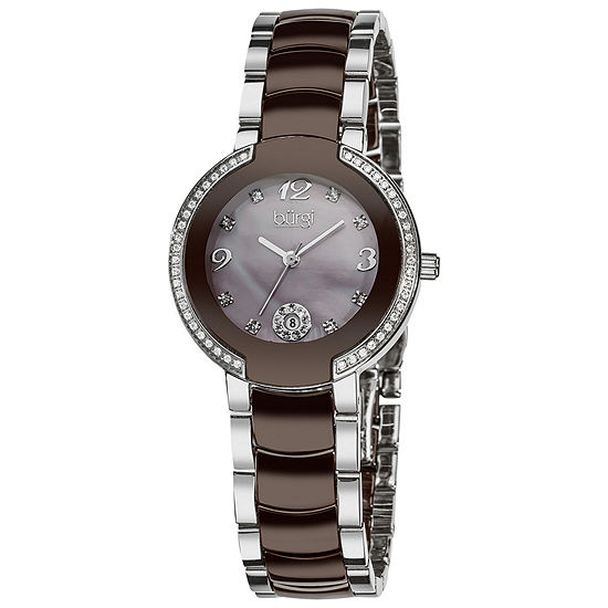 Burgi Womens Two Tone Stainless Steel Strap Watch-B-072br