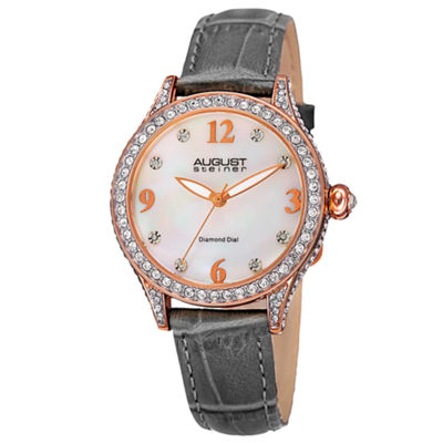 August Steiner Womens Gray Strap Watch-As-8188gy