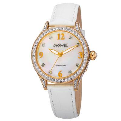 August Steiner Womens White Strap Watch-As-8188wtg
