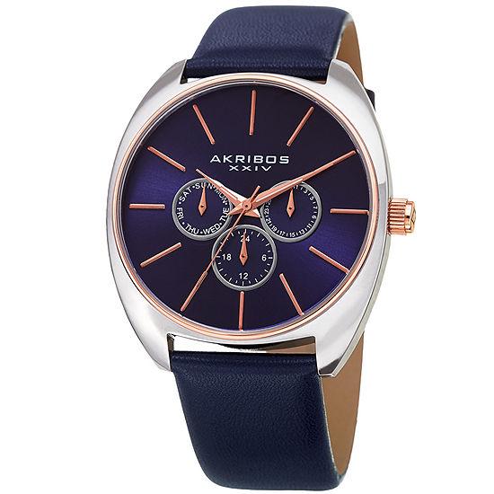 Akribos XXIV Mens Blue Strap Watch-A-998bu
