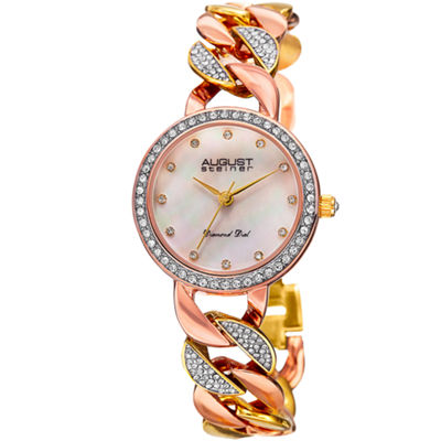August Steiner Womens Two Tone Strap Watch-As-8190tri