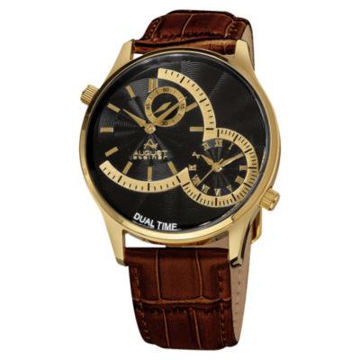 August Steiner Mens Brown Strap Watch-As-8010ygbr