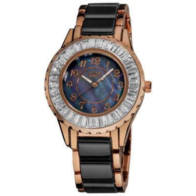 Burgi Womens Two Tone Strap Watch-B-066bkr