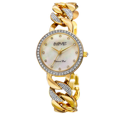 August Steiner Womens Gold Tone Strap Watch-As-8190yg