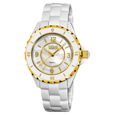 Burgi Womens White Strap Watch-B-057wtg