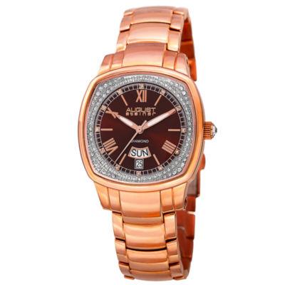 August Steiner Womens Rose Goldtone Strap Watch-As-8193rgbr