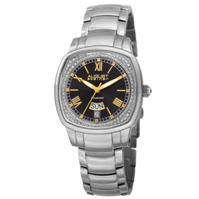 August Steiner Womens Silver Tone Strap Watch-As-8193ssb