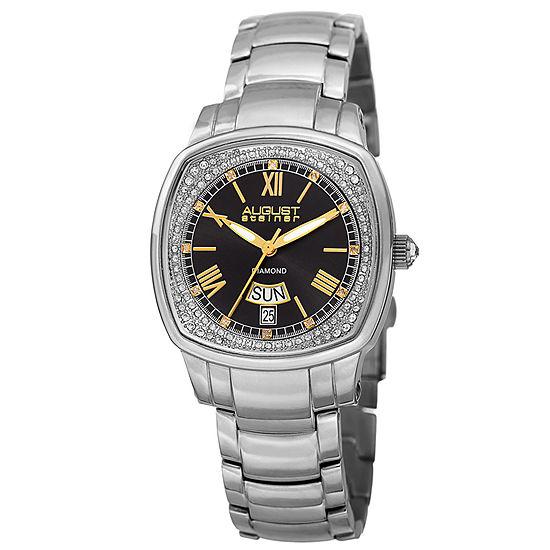 August Steiner Womens Silver Tone Stainless Steel Strap Watch-As-8193ssb