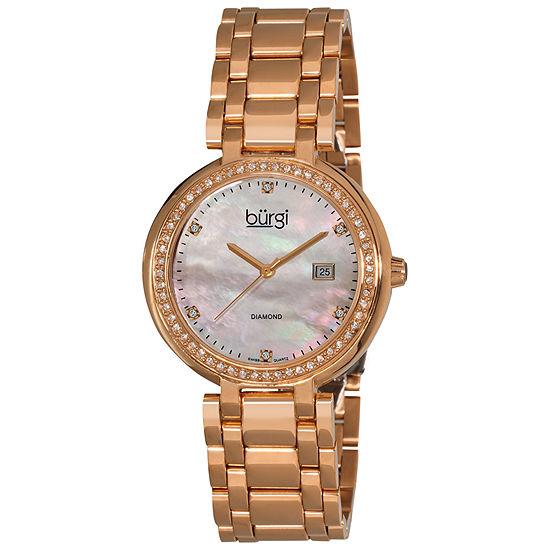 Burgi Set With Swarovski Crystals Womens Rose Goldtone Strap Watch-B-055rg