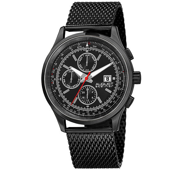 August Steiner Mens Black Strap Watch As 8194bk