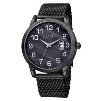 August Steiner Mens Black Strap Watch-As-8195bk