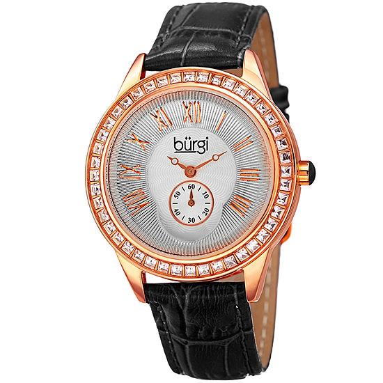 Burgi Set With Swarovski Crystals Womens Black Strap Watch-B-144bk