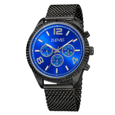 August Steiner Mens Black Strap Watch-As-8196bkbu