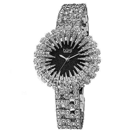 Burgi Womens Silver Tone Strap Watch-B-054ssbk