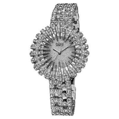 Burgi Womens Silver Tone Strap Watch-B-054ss