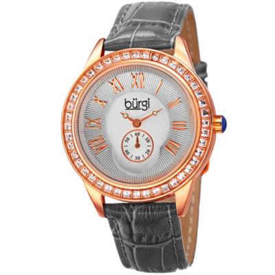 Burgi Womens Gray Strap Watch-B-144gy
