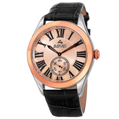 August Steiner Mens Brown Strap Watch-As-8203bkr
