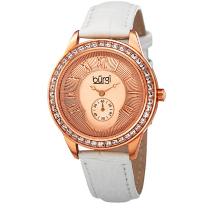 Burgi Womens White Strap Watch-B-144wtr