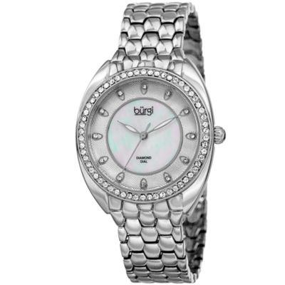 Burgi Womens Silver Tone Strap Watch-B-145ss