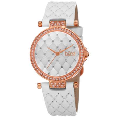 Burgi Womens White Strap Watch-B-154wtr