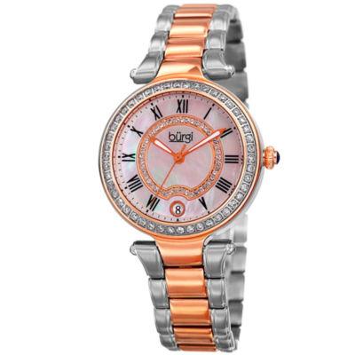 Burgi Womens Two Tone Strap Watch-B-165ttr