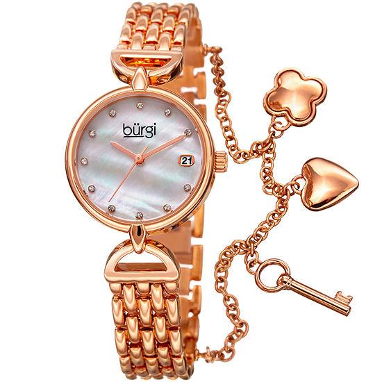 Burgi Set With Swarovski Crystals Womens Rose Goldtone Strap Watch-B-172rg