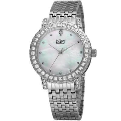Burgi Womens Silver Tone Strap Watch-B-176ss