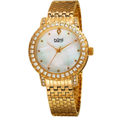 Burgi Womens Gold Tone Strap Watch-B-176yg