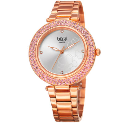 Burgi Womens Rose Goldtone Strap Watch-B-179rg