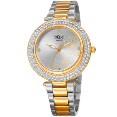 Burgi Womens Two Tone Strap Watch-B-179ttg