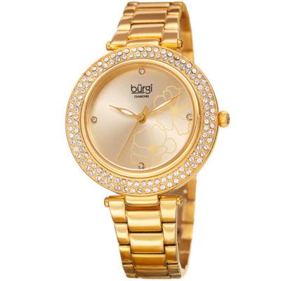 Burgi Womens Gold Tone Strap Watch-B-179yg
