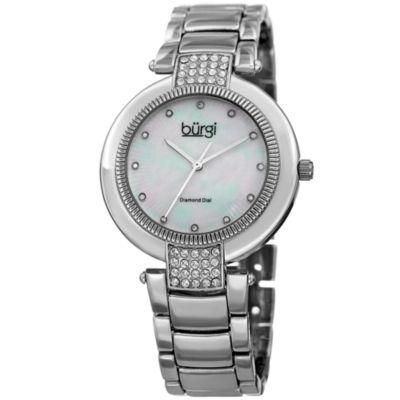Burgi Womens Silver Tone Strap Watch-B-181ss