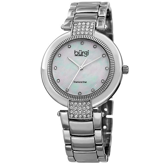Burgi Set With Swarovski Crystals Womens Silver Tone Strap Watch-B-181ss