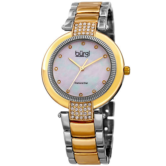 b929fcbc1 Burgi Womens Two Tone Strap Watch B 181ttg JCPenney