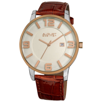 August Steiner Mens Brown Strap Watch-As-8055br