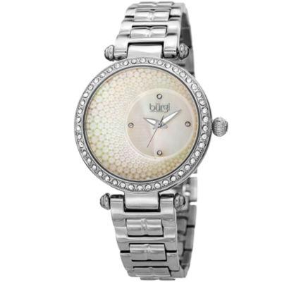 Burgi Womens Silver Tone Strap Watch-B-183ss