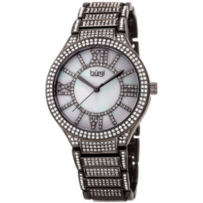 Burgi Womens Gray Strap Watch-B-185gn