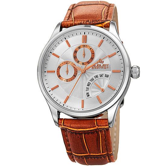 August Steiner Mens Brown Leather Strap Watch-As-8209ssbr