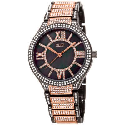 Burgi Womens Two Tone Strap Watch-B-185rg