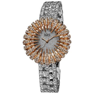 Burgi Womens Silver Tone Strap Watch-B-054rg