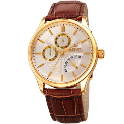 August Steiner Mens Brown Strap Watch-As-8209ygbr