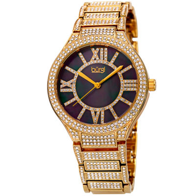 Burgi Womens Gold Tone Strap Watch-B-185yg