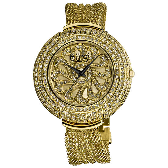 Burgi Womens Gold Tone Stainless Steel Strap Watch-B-051yg