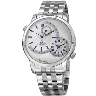 August Steiner Mens Silver Tone Strap Watch-As-8210ssbu