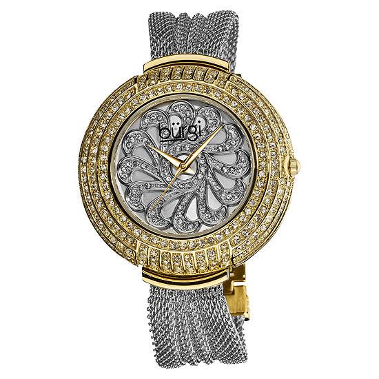 Burgi Womens Two Tone Stainless Steel Strap Watch-B-051ttg