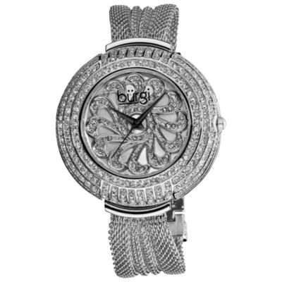 Burgi Womens Silver Tone Strap Watch-B-051ss