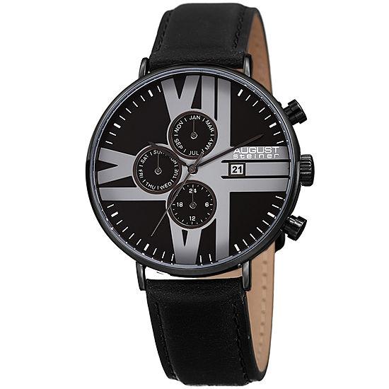 August Steiner Mens Black Leather Strap Watch-As-8212bk